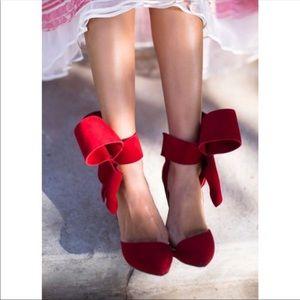 Sophia Webster Red Suede Bow Heel, size 36